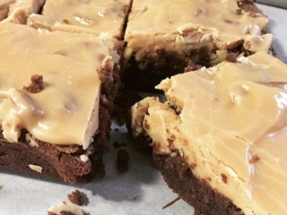 Fudge Brownies topped with Creamy Pecan Praline