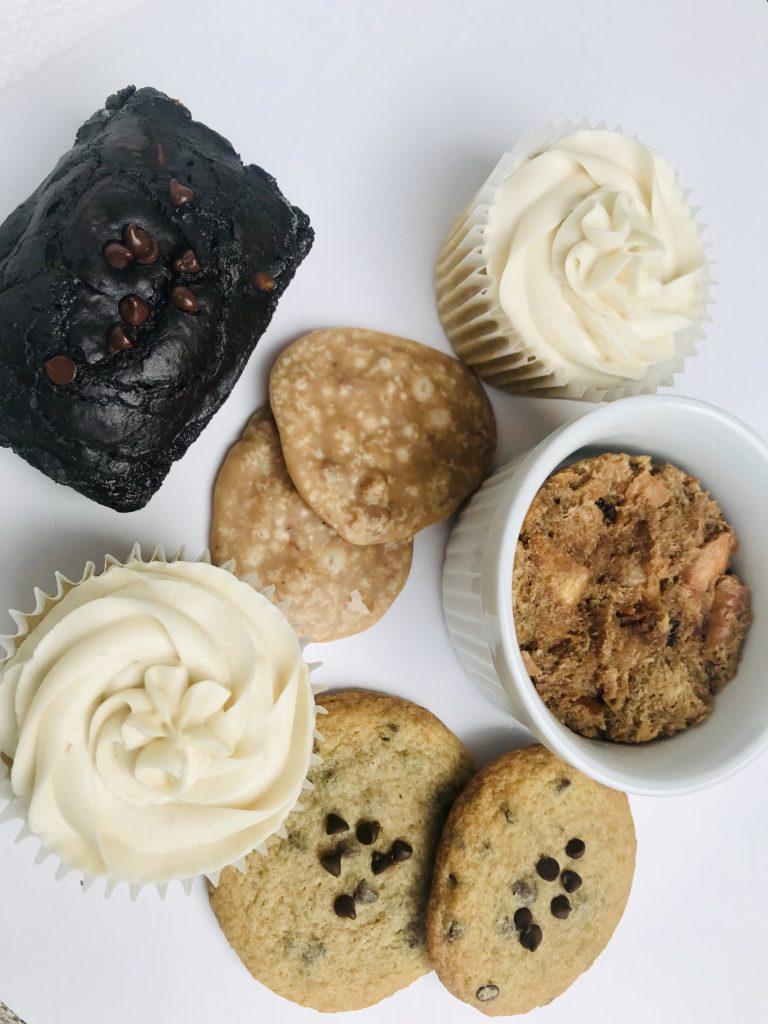 vegan & Gluten Free Desserts:  Avocado Brownie, Praline, Buttercream Cupcake, Chocolate Chip Cookies, Bread Pudding