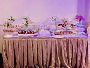 Wedding Dessert Table by KD's NOLA Treats including Creamy Praline, Mini Fresh Fruit Cheesecakes, Praline Brownie Bars, Lemon Bars, Pecan Pie Bars, Key Lime Pie Shooters and Strawberry Shortcake Shooters