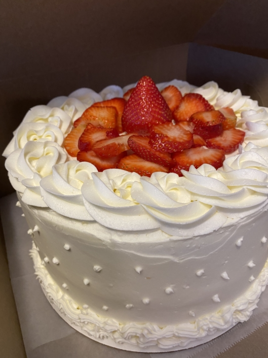 KD's NOLA Treats Buttercream Cake with Fresh Strawberries