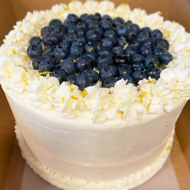 Almond Cake with Lemon Frosting & Fresh Blueberry
