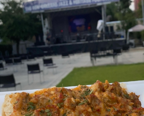 Crawfish Bread by KD's NOLA Treats at Jazz Fest Chanteuse